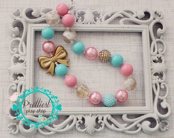 Gold Bow Chunky Necklace, Pink, Aqua and Gold, Chunky Necklace, Cake Smash Prop, Photo Prop, First Birthday, Pink and Gold