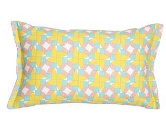 Geometric throw pillow yellow, grey and blue 22x13 – geometric decorative pillow for your geometric decor