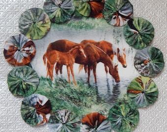 Meadow Horses Take a Drink Yo Yo Doily