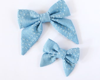 Distressed Chambray Sailor Hair Bow // Neon Hair Bows // Nylon Headband or Clips // Standard or Mini Size // Girls Hair Bow