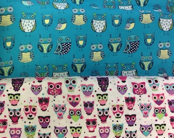 """Standard Crib/Toddler Fitted Flannel Sheet~ Owl Love~ """"The Nature of Owls or So Very Bright Owls"""