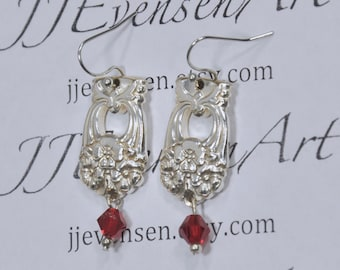 Spoon Earrings with Glass Beads