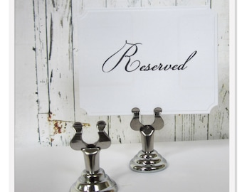 Silver Sign Holder, Wedding Table Number Stand, Card Holder, Table Decor, Menu Card Holder