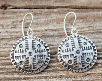 Silver Sun Symbol Earrings