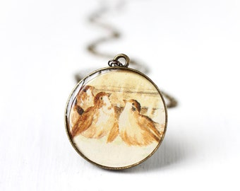 Sparrows Bird Vintage Art Round Pendant Necklace - Cute Brown Sparrows Splashing in a Puddle
