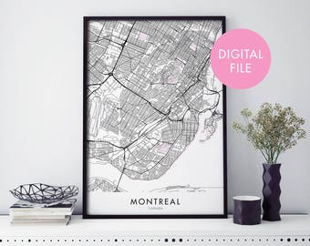 Montreal, Canada City Map Print Wall Art | Print At Home | Digital Download File