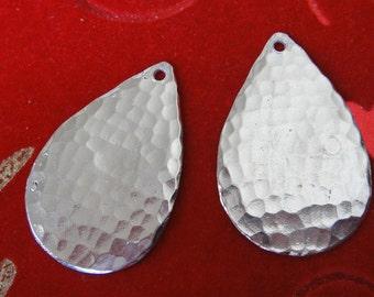 2 pc 925 sterling silver hammered teardrop earring findings, silver earring, teardrop earrings, hammered earrings,