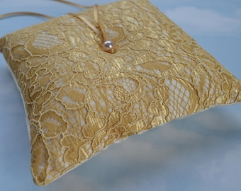 Wedding ring cushion, Gold bridal ring pillow, Yellow gold lace and ivory wedding ring bearer pillow