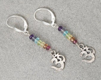 7 Chakra earrings / CHAKRA Stones / OM Earrings / Yoga Jewelry / Chakra Jewelry / Chakra Stone Set / Chakra Crystals / OM charms