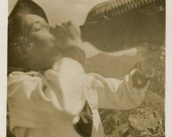 vintage photo 1911 Young Woman Drinks on Mountain Top snapshot