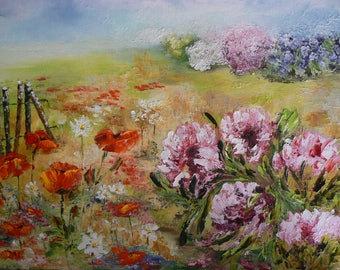 knife on canvas oil painting from my garden flowers