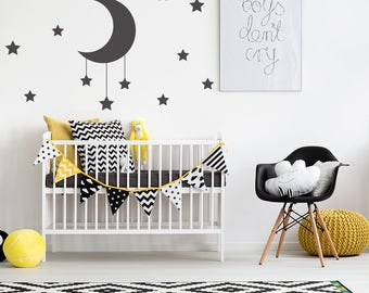 Moon & Stars Wall Sticker Decal Mural, Perfect Addition to a Monochromatic bedroom, Many Colour Options, Removable Matte Vinyl