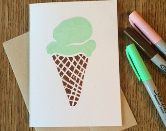 Ice Cream Cone -- Block Print Notecard in Chocolate and Mint