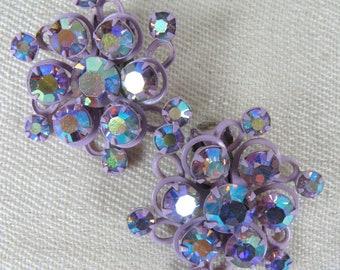 Vintage 1950s Earrings 50s Purple Enamel and Rhinestone Flower Clip Earrings Unsigned