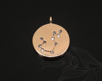 S1124-20pcs-Pink Gold Plated-Aquarius