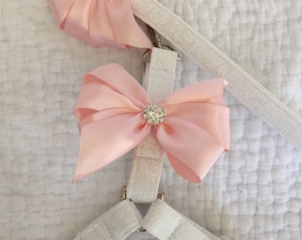 Wedding Step In Harness and Leash Set  with Removable Bows Custom Made for Wedding Dog