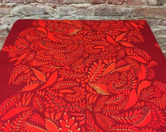 Dark red tablecloth with red leaves, Luxurious tablecloth, modern style, Scandinavian design