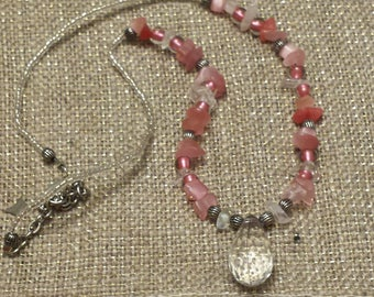 Pink and Quartz Beaded Drop-Jewel Choker/Necklace