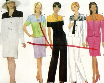 A Short, Color Blocked Jacket, Straight Skirt, and Straight Leg Pants Sewing Pattern for Women: Uncut - Sizes 8-10-12 ~ Butterick 5547