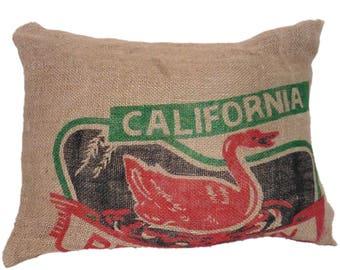 California burlap pillow covers