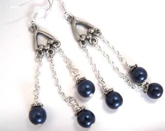 Blue glass dangle earrings, dark blue beaded jewelry, blue glass earrings