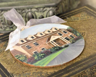 Custom House Ornament, Hand Painted Wood Burned