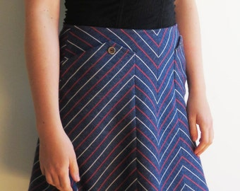 60s Vintage A-Line Blue Mini Skirt with White and Red Chevron Stripes