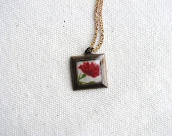 Flower Necklace Fabric Textile Resin Minimalist Botanical Flower Pattern Jewelry Red Square Naturalist Gardener Art Pendant Bridal