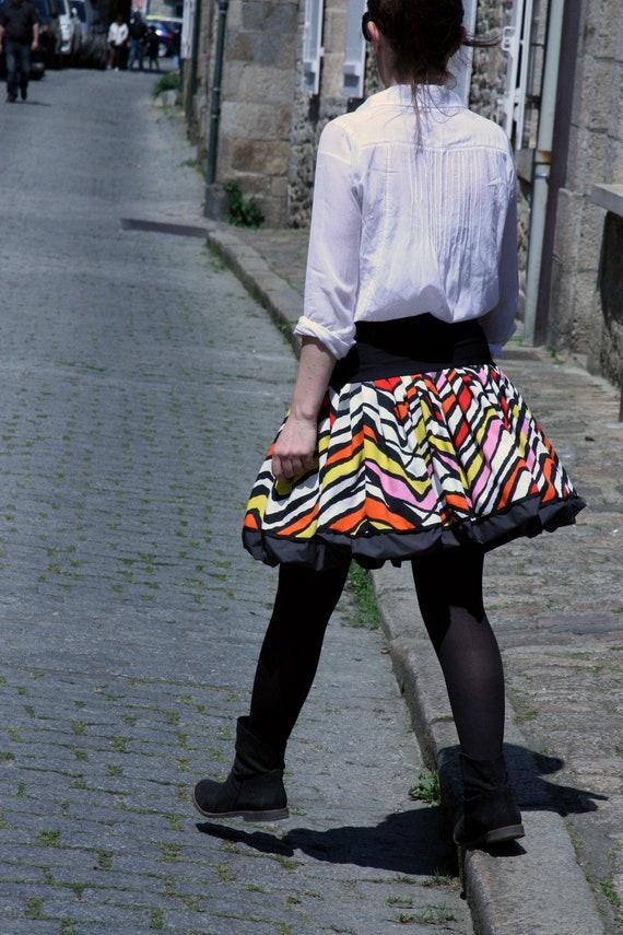 Original Creation ball skirt, colorful graphic Chevron multicolor canvas cotton and Microfiber