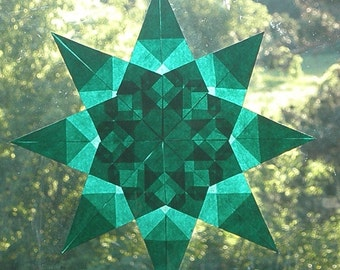 Green Window Star Made from Translucent Paper with 8 Points
