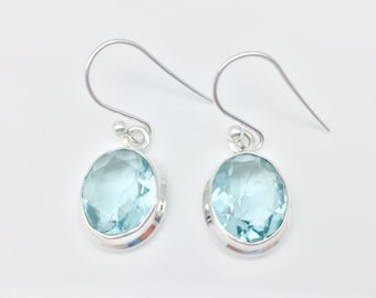 Blue Quartz Earrings // 925 Sterling Silver // Simple Oval Setting // Hook Wires