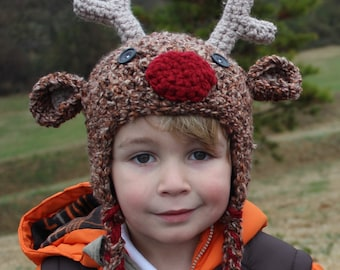 Reindeer Hat with Ear Flaps--Crocheted Rudolf--6-12 mos, toddler or child size--Perfect Holiday Photo Prop