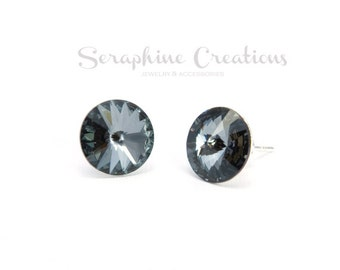 Dark Grey Crystal Earrings Swarovski Rivoli Silver Night Earrings Sparkly Bridal Bridesmaid Gift Bridal Bridesmaid Jewelry Charcoal K010