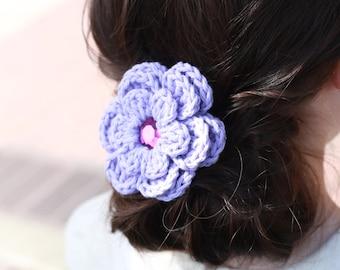 Lavender Hair Clip Crochet Flower Hair Clip Lavender Barrette Flower Barrette Light Purple Hair Clip Purple Barrette Pastel Purple Spring