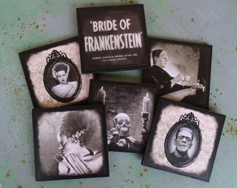 Bride Of Frankenstein coasters - set of 6 wooden coasters - Gothic decor, Halloween decorations, classic horror movies, Halloween decor