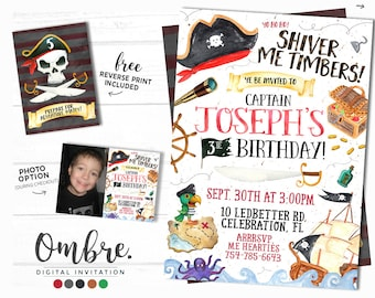 Pirate Invitation, Pirate Party, Pirate Birthday Invitation, Printable, Any Age