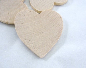 """6 Wooden hearts 2 1/2 inch (2.5"""") wide 1/4"""" thick unfinished wood hearts diy"""