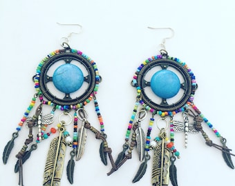 Blue Dream Catcher and Feather Earrings