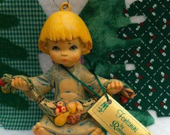 "Vintage 70's ""FONTANINI""  Angel Cherub Ornament by Roman -  Depose Italy"