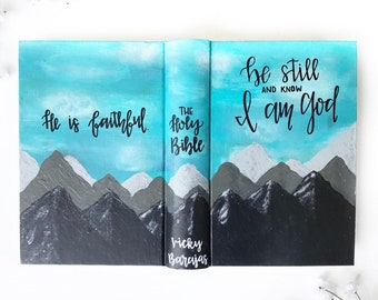 Custom Hand Painted Bible | Mountain Landscape