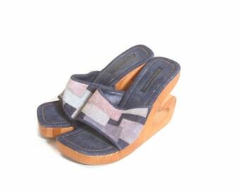 Vintage 1990s Denim Patch Woody Heel Open Toe Clogs size 7.5
