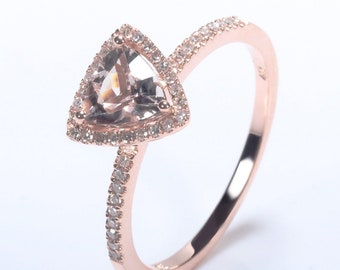 14k solid gold Trillion Cut Engagement Ring
