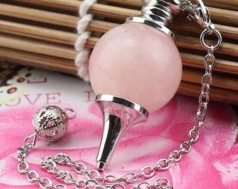 1 pendant and pendulum quartz pink 18 mm + chain