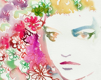 Floral Hair ornaments, Fashion Illustration Print, Watercolor Fashion Print, Fashion Sketch, Flower Headdress,  Flowers in hair, Cate Parr