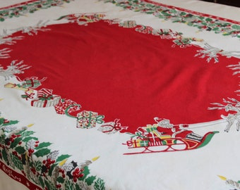 Vintage Rectangular Merry Christmas Tablecloth with Santa and Presents