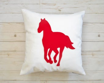 Horse Pillow Cover, Equestrian Gift for horse lovers, galloping horse,  Pillow case with Appliqued Horse Silhouette