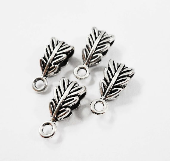 Antique Silver Jewelry Bails 13x6mm Silver Necklace Bails, Leaf Bails, Metal Jewelry Findings, Jewelry Making Supplies, Silver Bails, 10pc