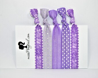 Elastic Hair Ties, Purple Lace, Silver Dots, Handmade, Elastic Ribbon, Ponytail Holder, Knotted Hair Ties, Bracelet Hair Ties, Girl Gifts