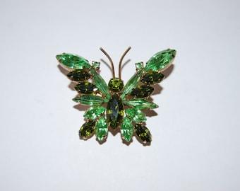 Juliana D&E Peridot and Olivine Green Rhinestone Butterfly Brooch