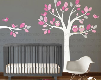 Colorful Owl Tree Wall Decal, with Birds, Owls, Decal, Nursery, Branch, Wall Decals, Wall Sticker [MT021]
